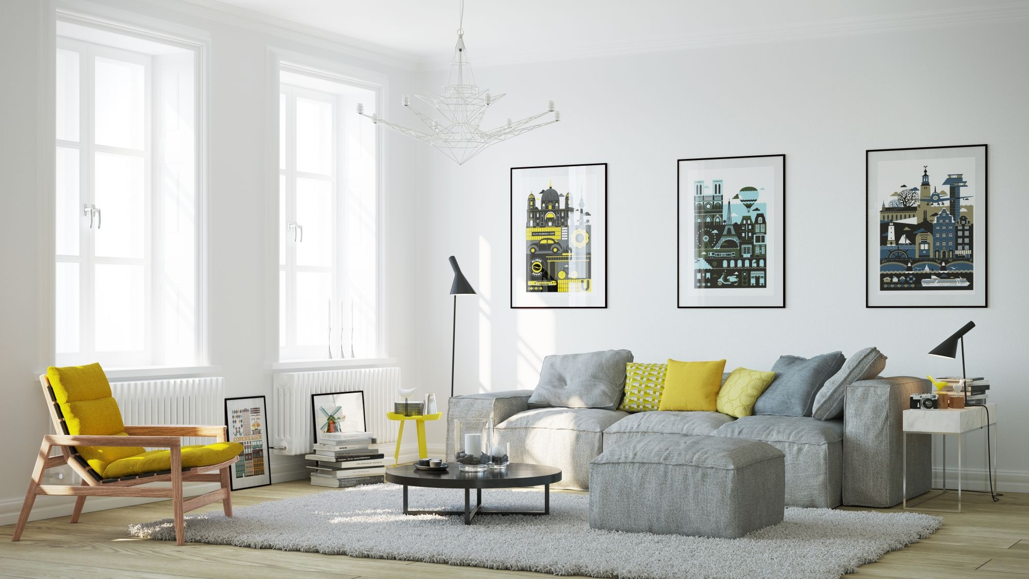 Say yes to yellow 4 apartments that flaunt yellow accents for Yellow living room ideas