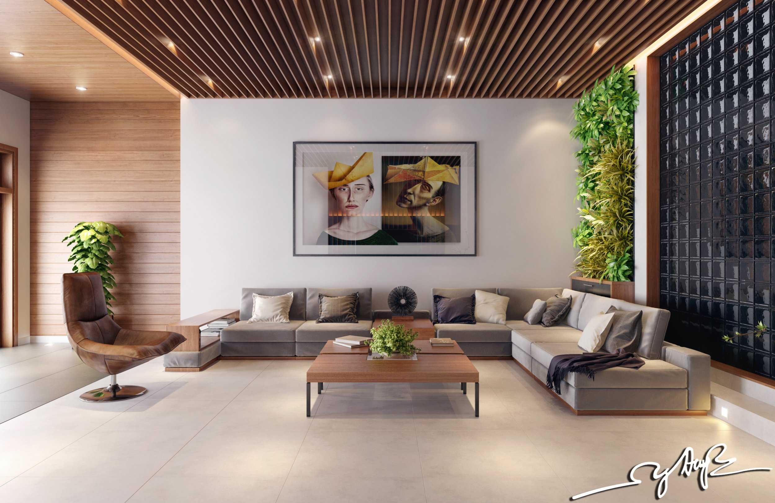 Interior design close to nature rich wood themes and for Home vertical garden
