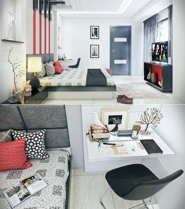 The subtle red accents in this almost industrial room really give it a masculine pop.