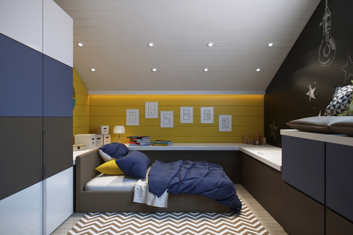 Bright and colorful kids room designs with whimsical An attic room