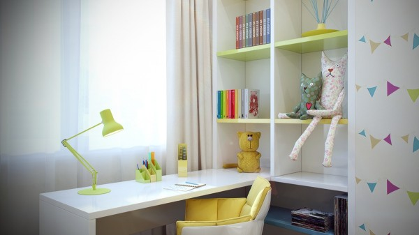 This cozy yellow desk chair and cubby holes can make any homework appealing.