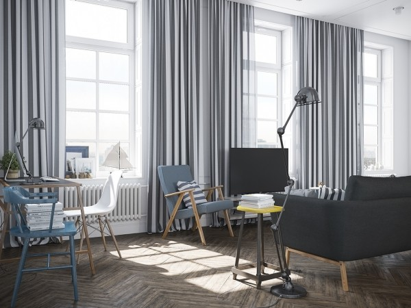 Vertical striped curtains in combination with the white walls makes the room feel huge and tall.