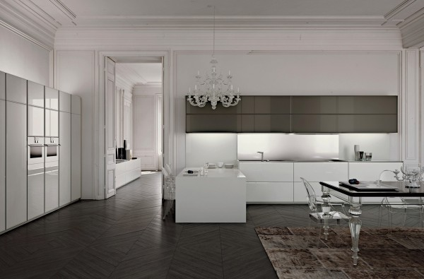 Lucite furniture and modern chandelier make this white kitchen uber chic.