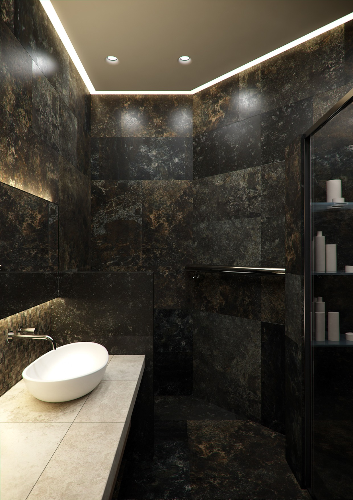 A stylish apartment with classic design features Interior design black bathroom