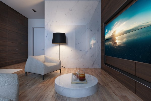 A marble wall reflects light and feels luxurious.