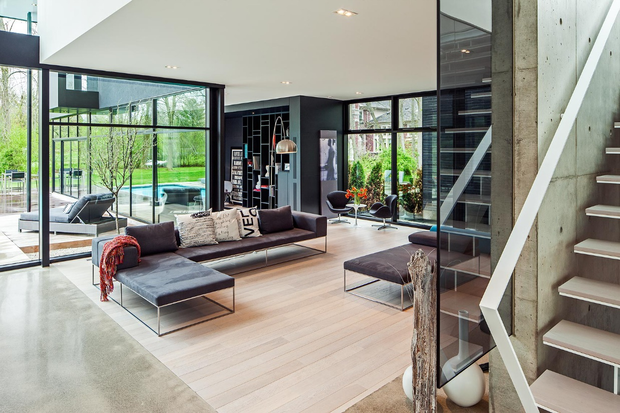 Minimal Frame Sofa - Ultra sleek private home with incredible architecture