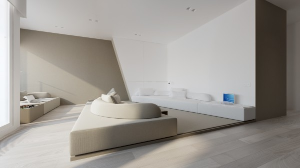 Large custom sofas sit on slightly raised platforms and offer plenty of comfortable seating.