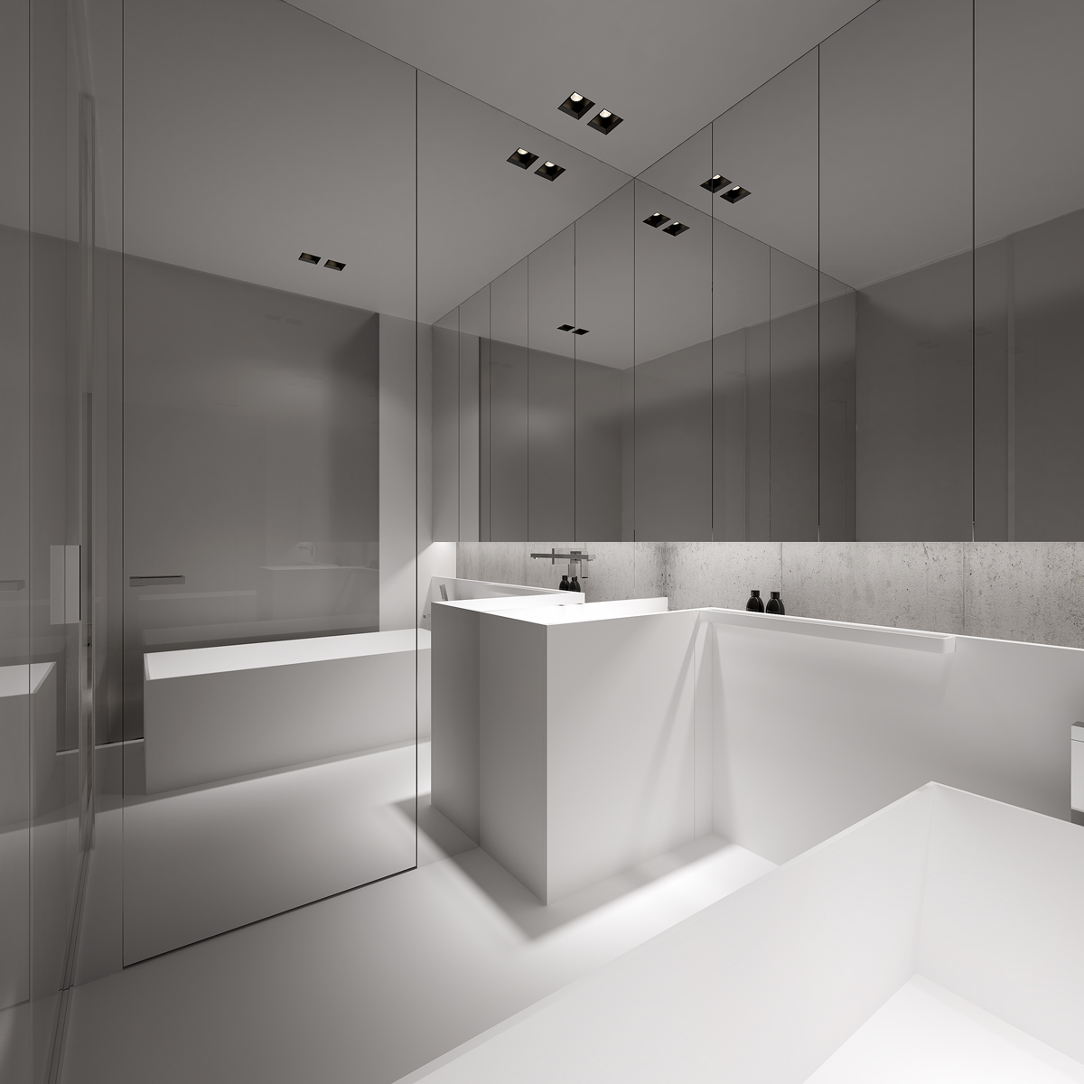 A Second Bathroom Has Light Glowing From Under The Cabinetry For Warm Easy Glow
