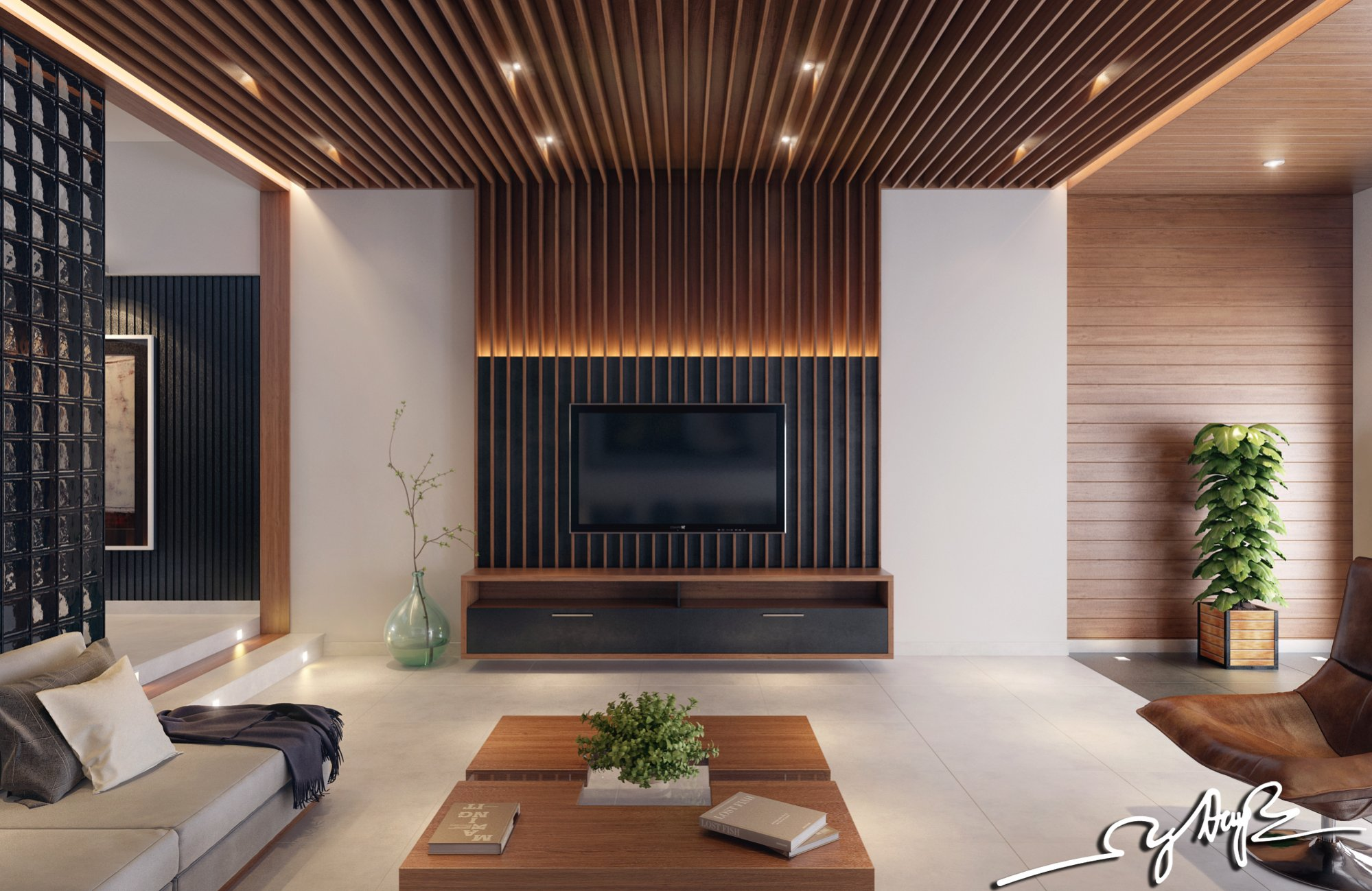 Interior design close to nature rich wood themes and for Wall design in hall