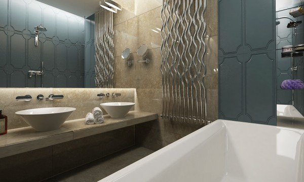 The bathroom itself is entirely modern with slick marble walls and deep porcelain basins.
