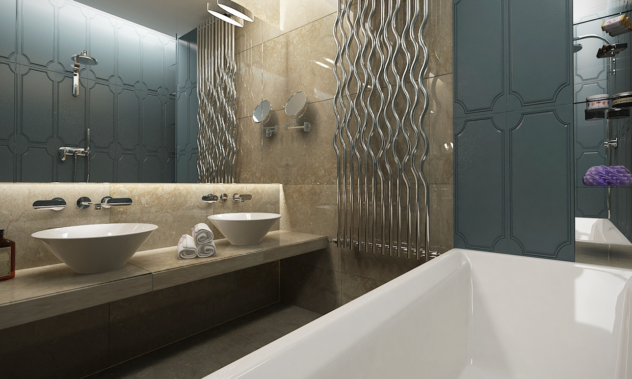 Modern Bathroom - Contemporary apartment design with classical features floor plans included