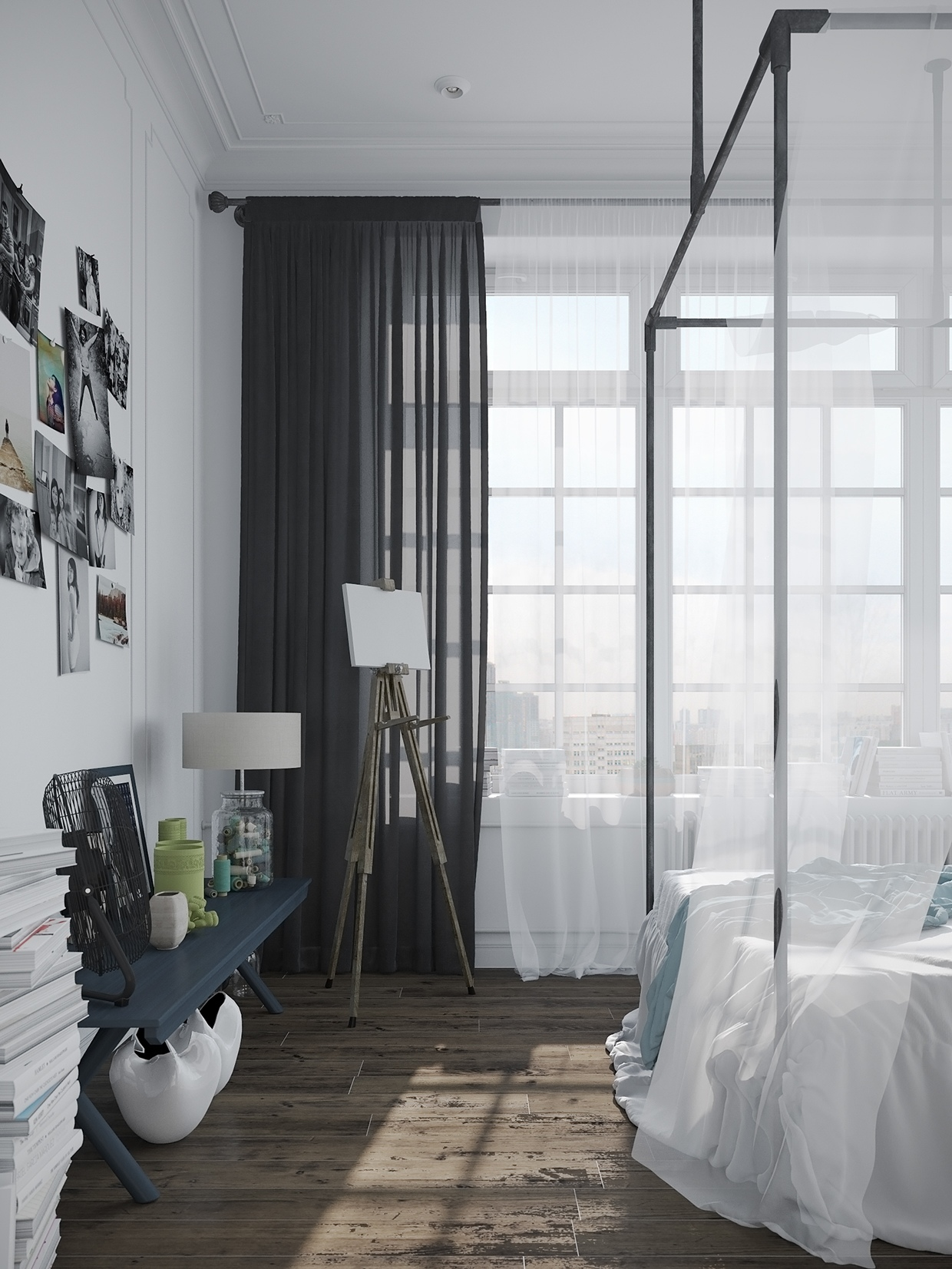 Stylish scandinavian apartment in murmansk Industrial scandinavian bedroom