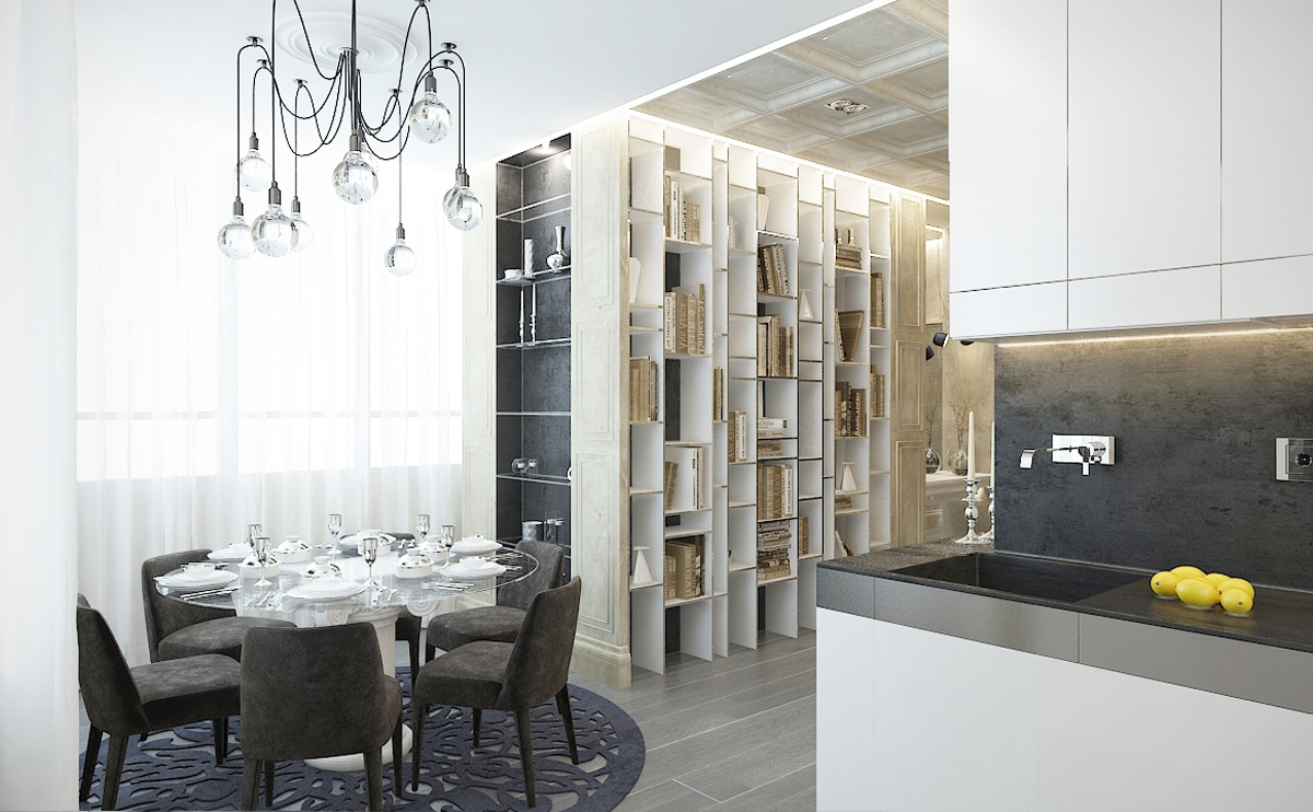 Contemporary apartment design with classical features for Modern dining design
