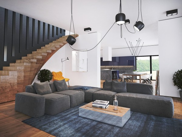 Simple, modern furniture like a modular gray sofa and suspended light fixtures contribute to the atmosphere.