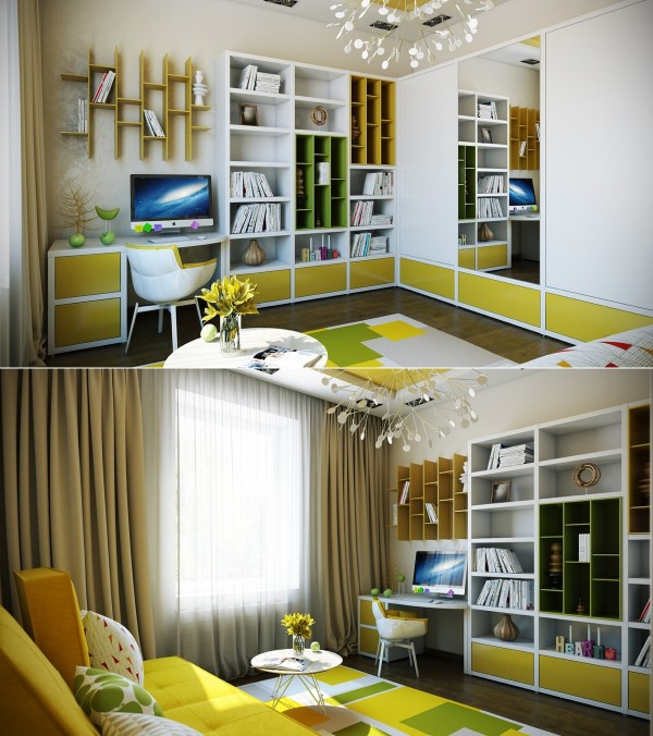 Citrusy colors make this study room welcoming for any age group.