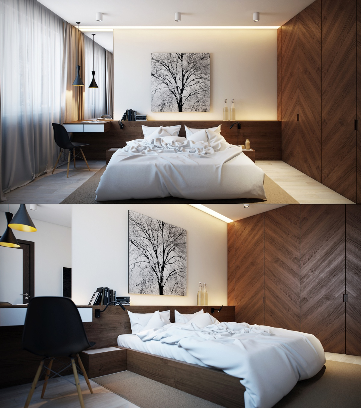 Modern bedroom design ideas for rooms of any size for Wooden interior design for bedroom