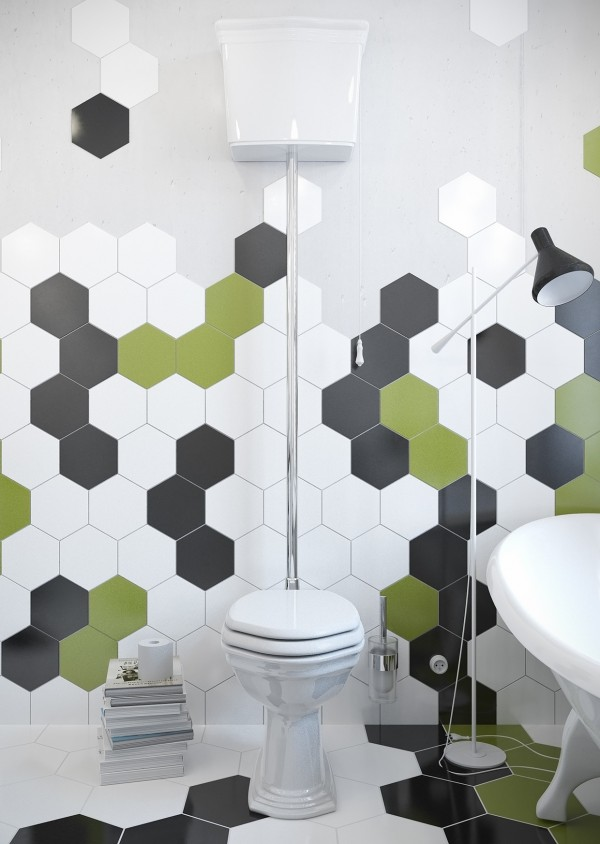 The honeycomb shape gives a new edge to traditional bathroom tiling.