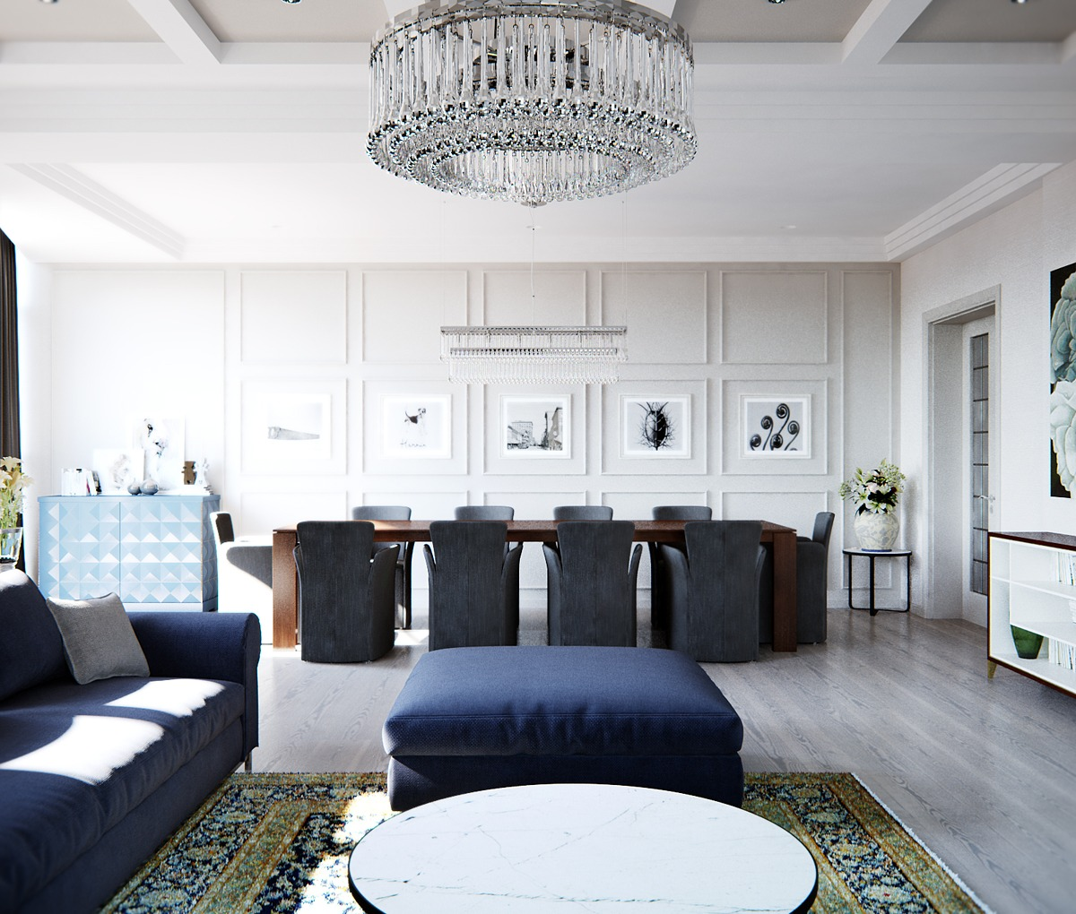 Open Dining Room - A stylish apartment with classic design features