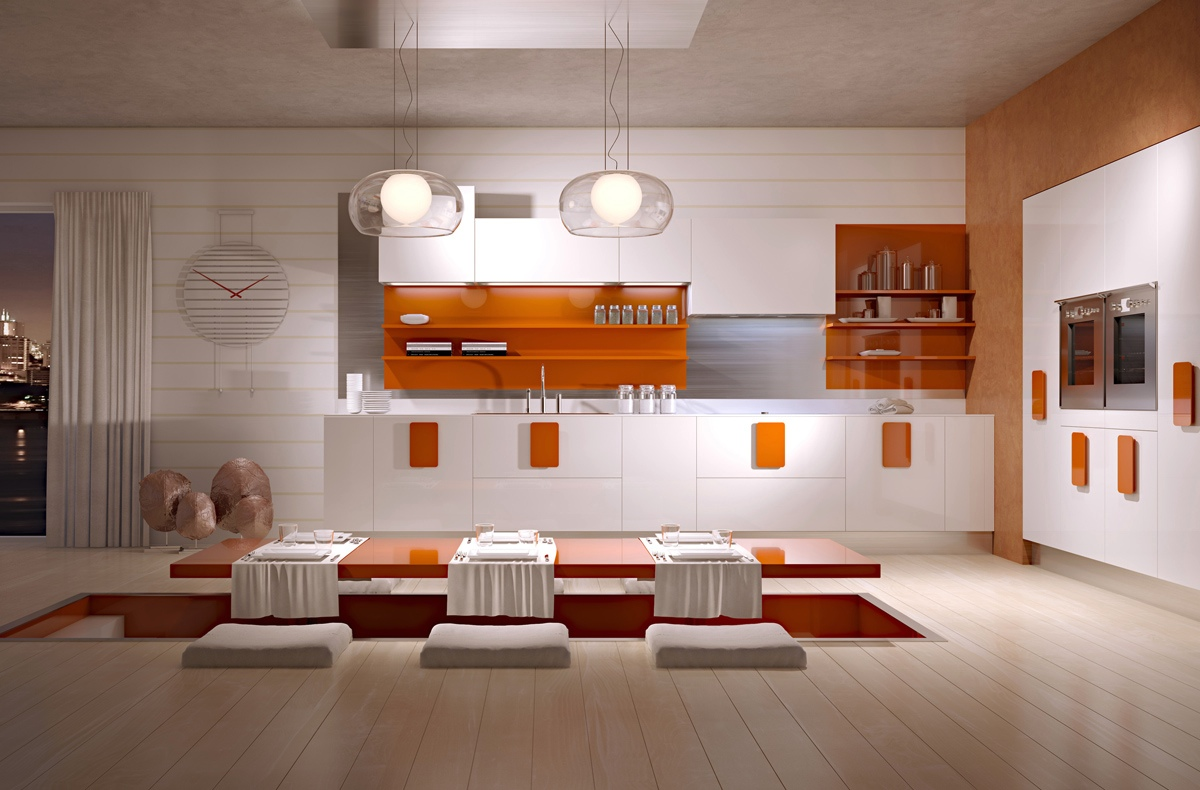 White Kitchen Orange Accents orange-kitchen-accents | interior design ideas.