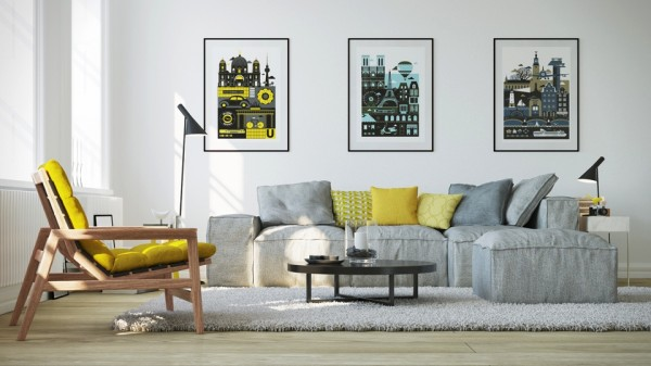 It is interesting to note this apartment also uses yellow for upholstery and pillows, but also brings in a bit in the side table and wall art.