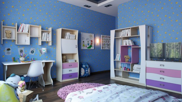 The blue wallpaper in this girls room makes it a big dark, so white furnishings and pink and purple accents brighten things up.