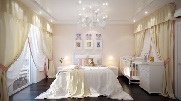 Finally, this princess-inspired room with its frilly curtains and chandelier is the stuff little girls dream of.