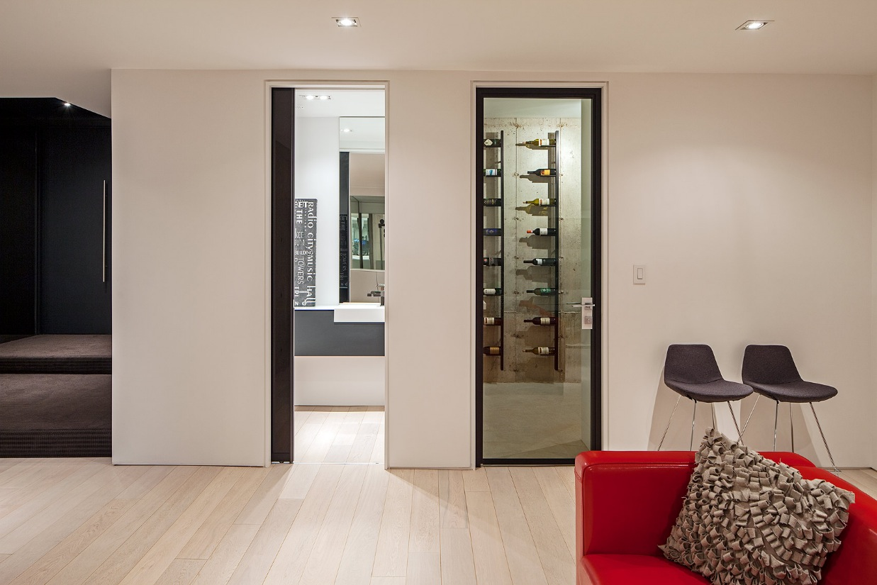 Private Wine Cellar Design - Ultra sleek private home with incredible architecture
