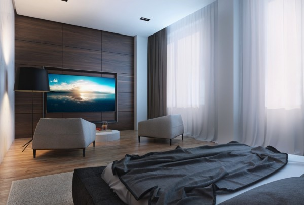 The television sits in a custom wall and can be easily hidden away, for a technology-free sanctuary.