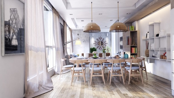 This warm and welcoming dining room features plenty of light and seating that is modern but