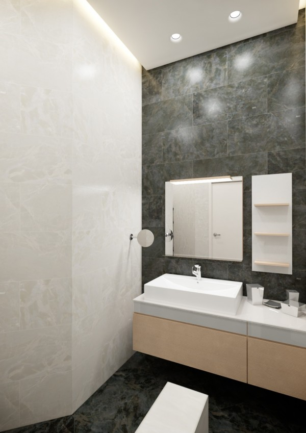 Open shelving and mirror space with a large basin make getting ready fuss free.