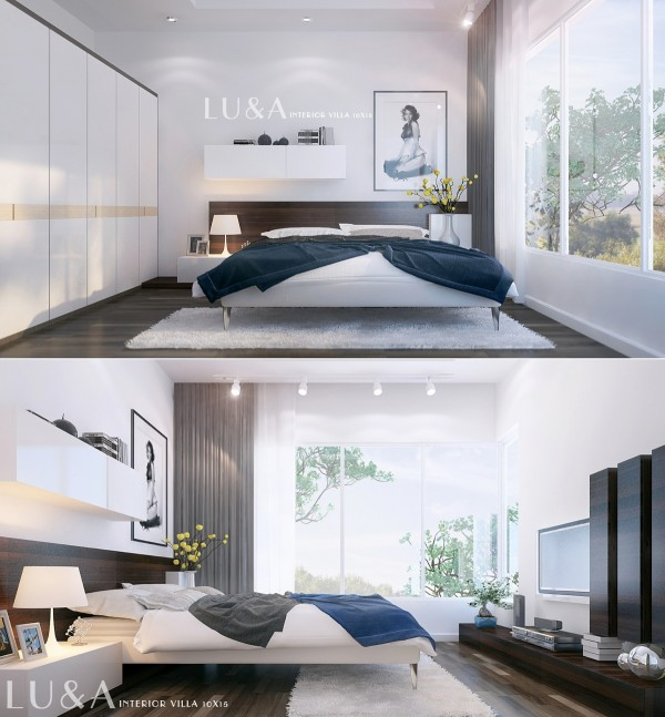 This gorgeous modern bedroom uses clean, simple lines and neutral tones to create a relaxing space.