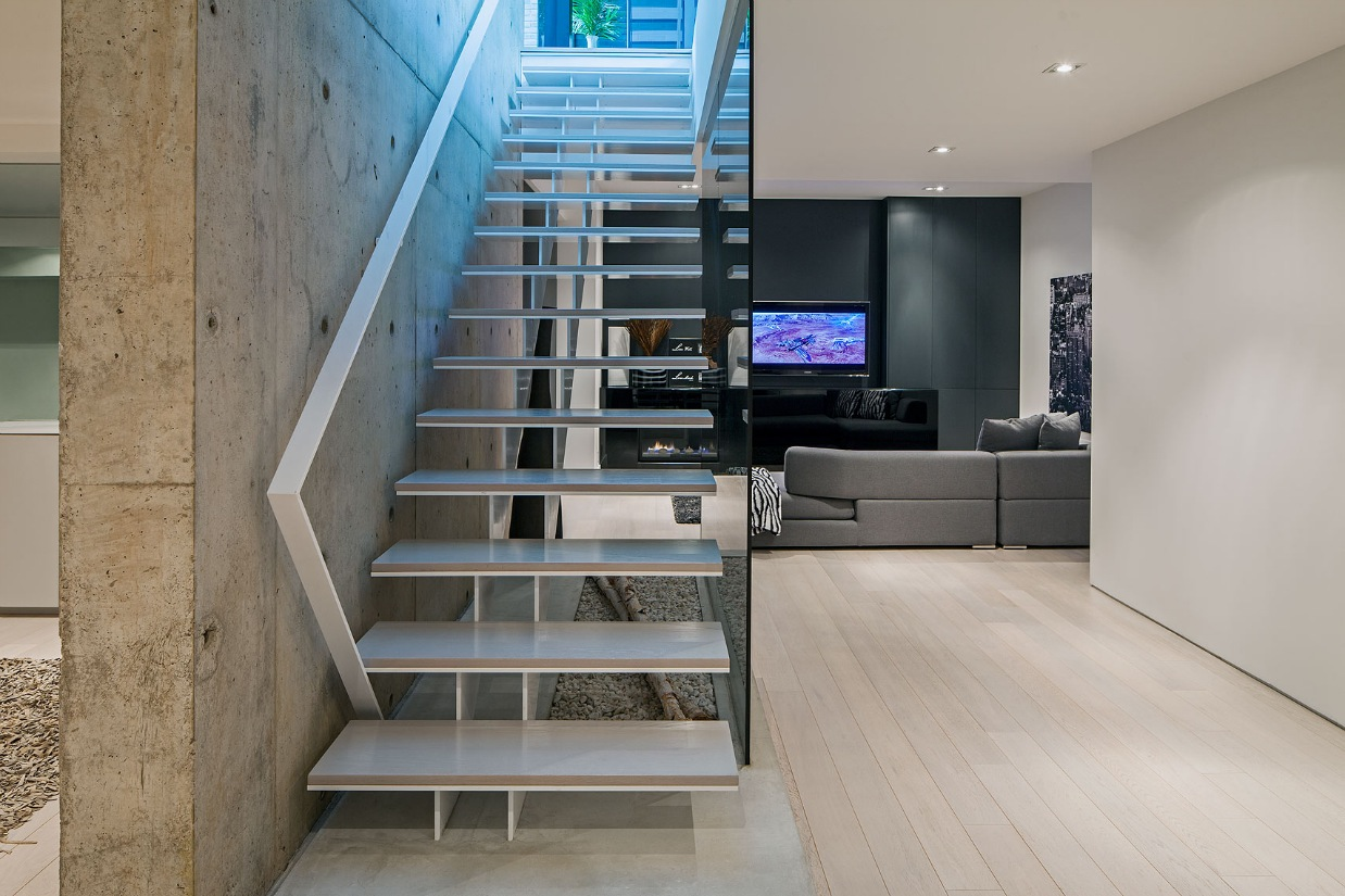 Simple Staircase - Ultra sleek private home with incredible architecture