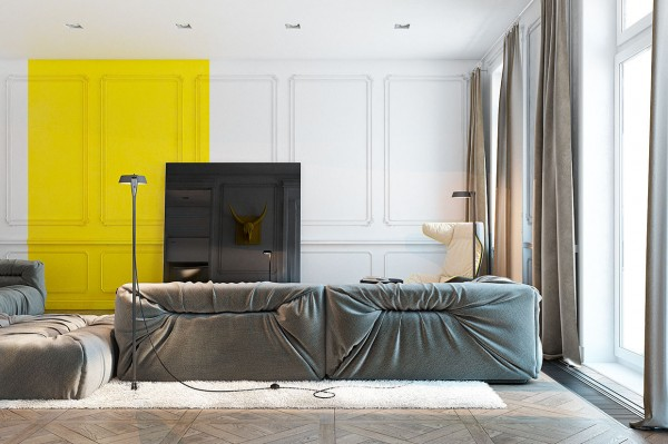 In a home with largely classic architecture, adding an irregular yellow panel is shockingly modern .