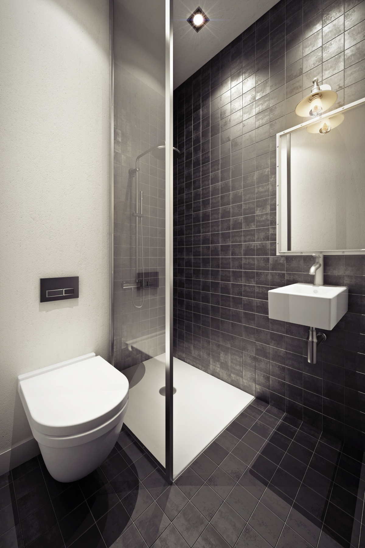 3 beautiful homes under 500 square feet for Tiny bathroom layout