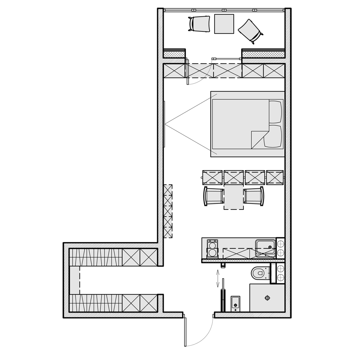 3 beautiful homes under 500 square feet for Small duplex house plans 400 sq ft