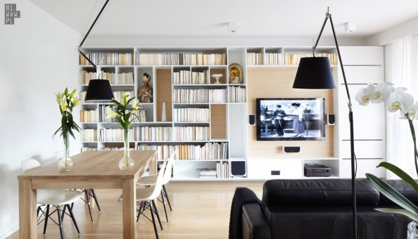 In this space conscious home, the bookshelves are never tucked away.