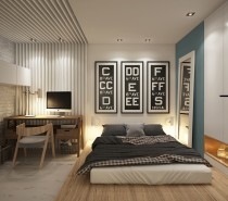 The different levels, from the bed to the tucked in shelving and the lower office floor make the bedroom feel like more than one room, giving the illusion of more space.