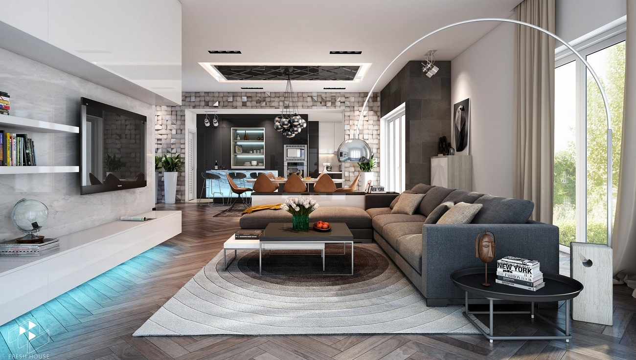 Awesomely stylish urban living rooms for Beautiful contemporary living rooms