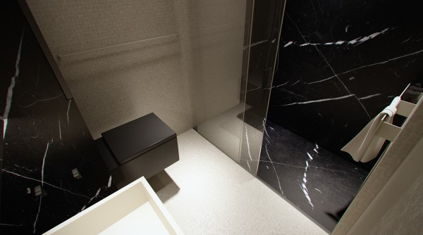Another modern bath - this one featuring bold strokes of masculine marble.