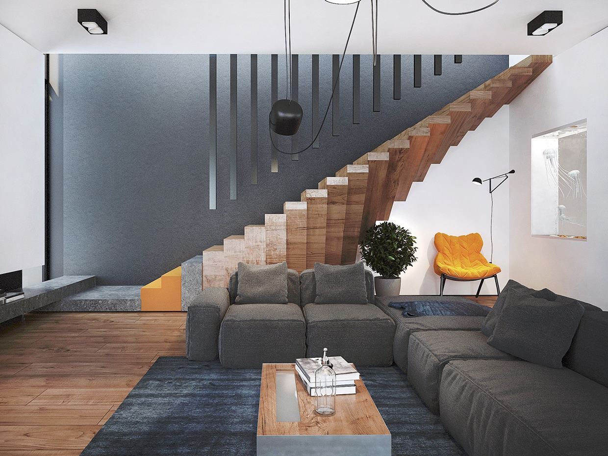 trendy home with super unique staircase
