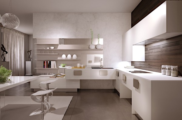 The first kitchen uses cool beige tones and recessed lighting to create a sense of calm.