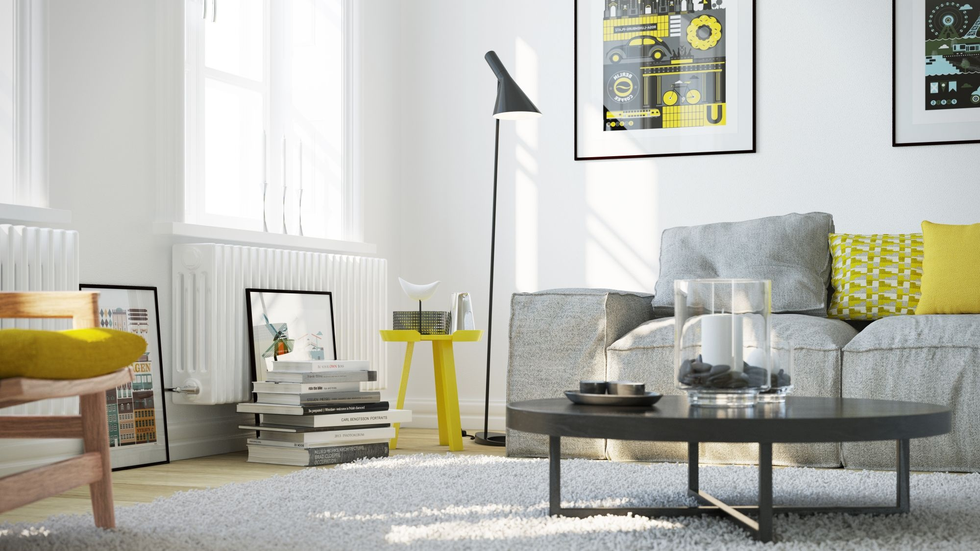Say yes to yellow 4 apartments that flaunt yellow accents for Yellow modern living room ideas