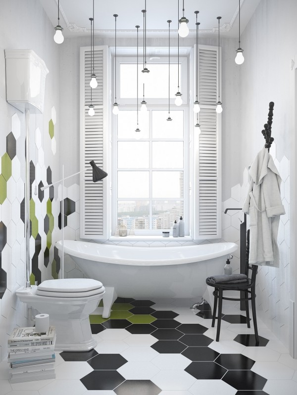 In the bathroom, the cool tri-colored tiles are and awesome accent to a large tub and more hanging lights.