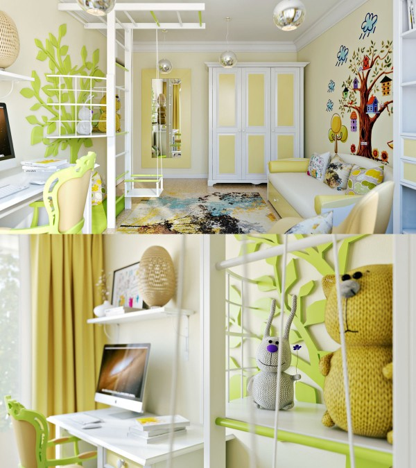 A pale yellow wall and wardrobe lends color without being dizzying.