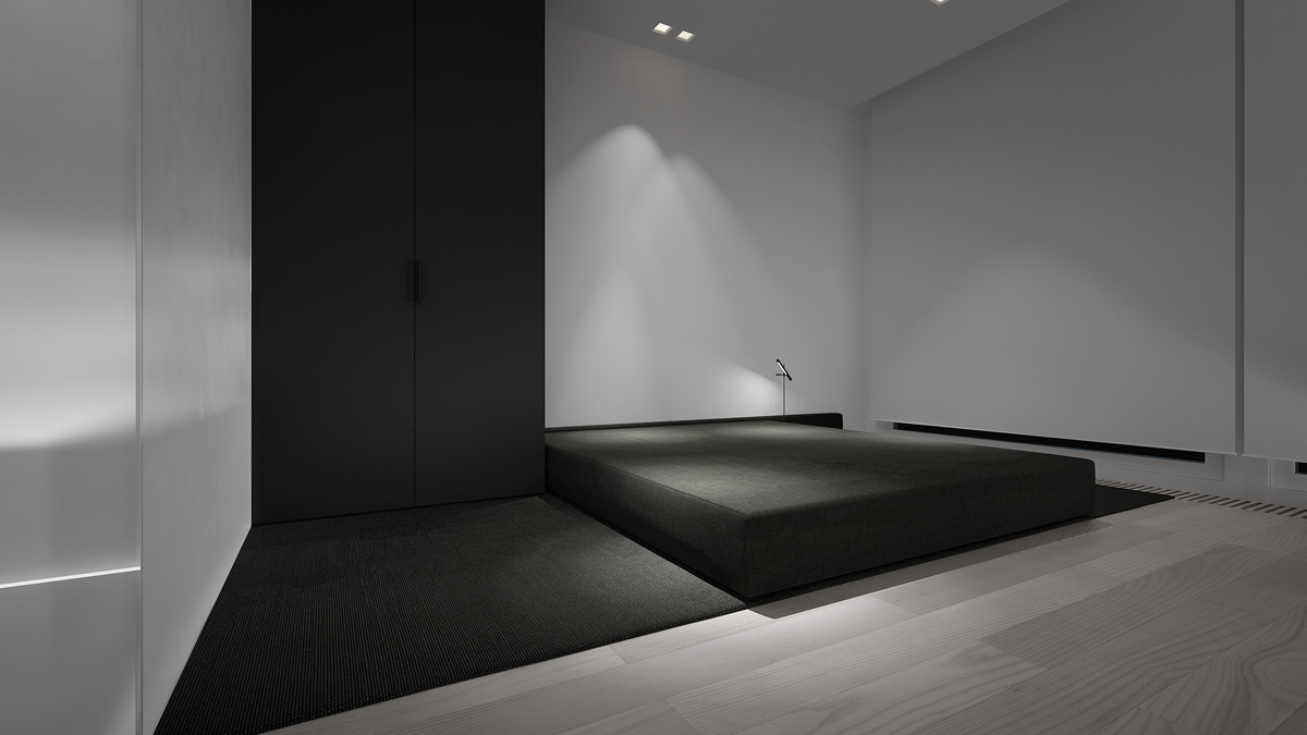 Stark sharp minimalistic interiors by oporski architektura for Minimalist black and white bedroom