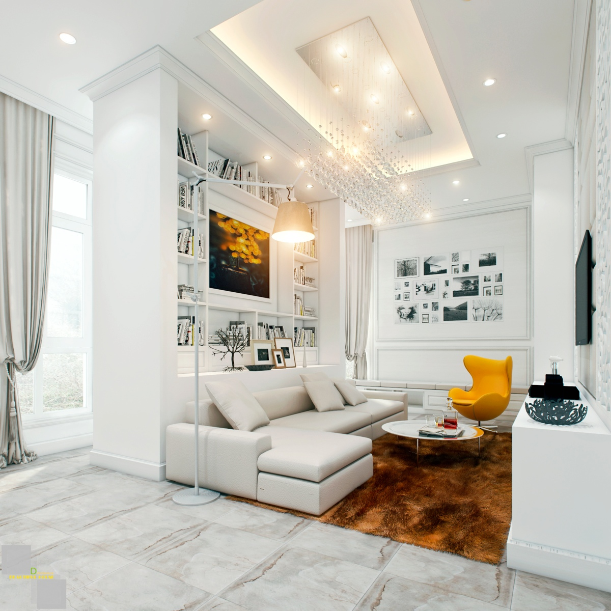 Awesomely stylish urban living rooms for Pictures of modern living rooms decorated
