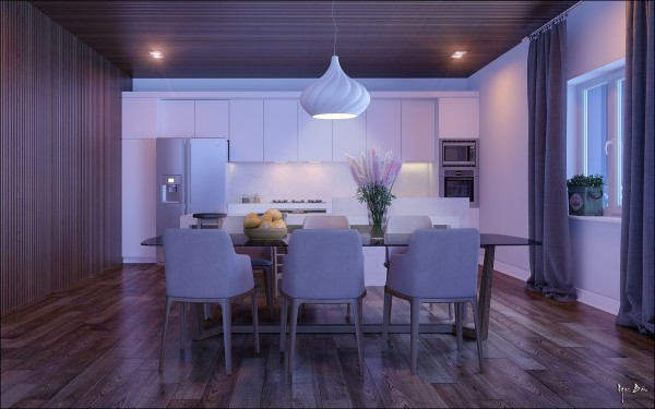 Creative lighting makes this dining room walk the line between a sophisticated night in a wild turn at a night club.