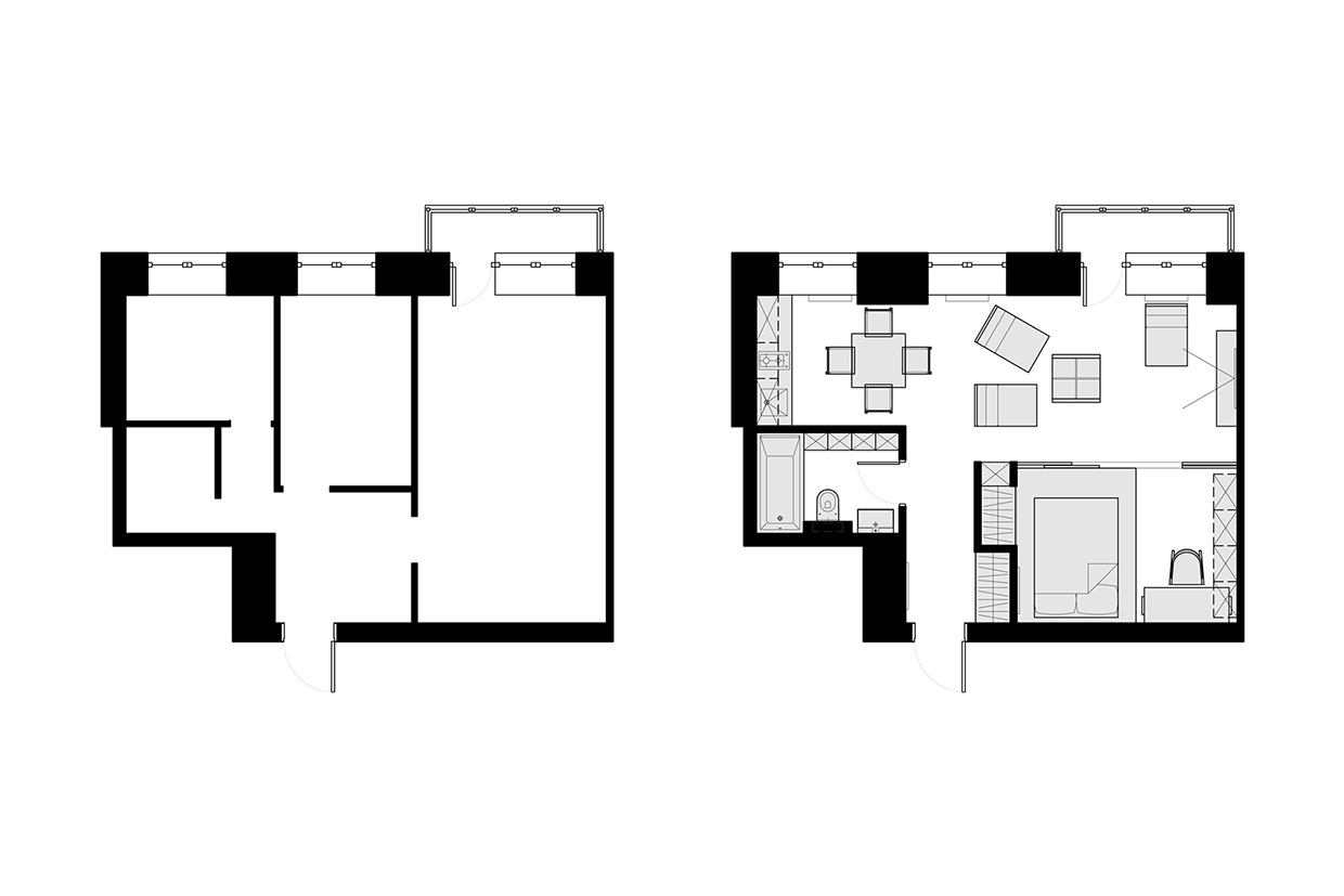 3 beautiful homes under 500 square feet for Apartment floor plans