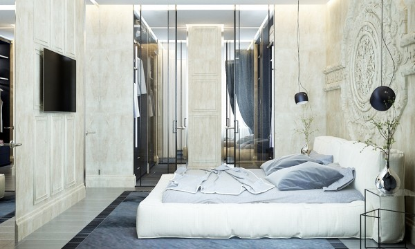 The massive walk-in closet is a contemporary twist on an ancient feature.