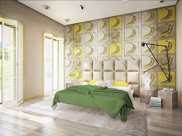 This kid's room could easily  transition to a trendy kid's room, with its awesome Warhol-inspired accent wall and breezy windows.